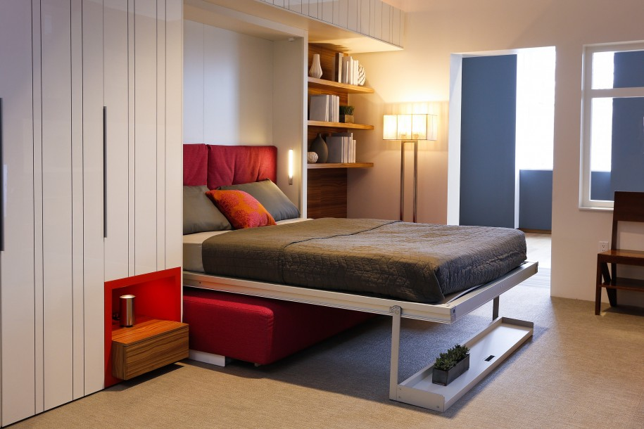 bed that folds into wall for space saving bedroom ideas combined with  wooden wall mounted bookshelf