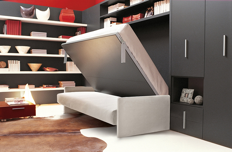 Bed That Folds Into Wall With Sofa Beneath Plus Mounted Shelving And Black Cabinets