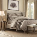 belgian basket weave carpet decorated in bedroom ideas with round wooden nightstand plus decorative table lamp plus artisctic wall picture and stool and curtains