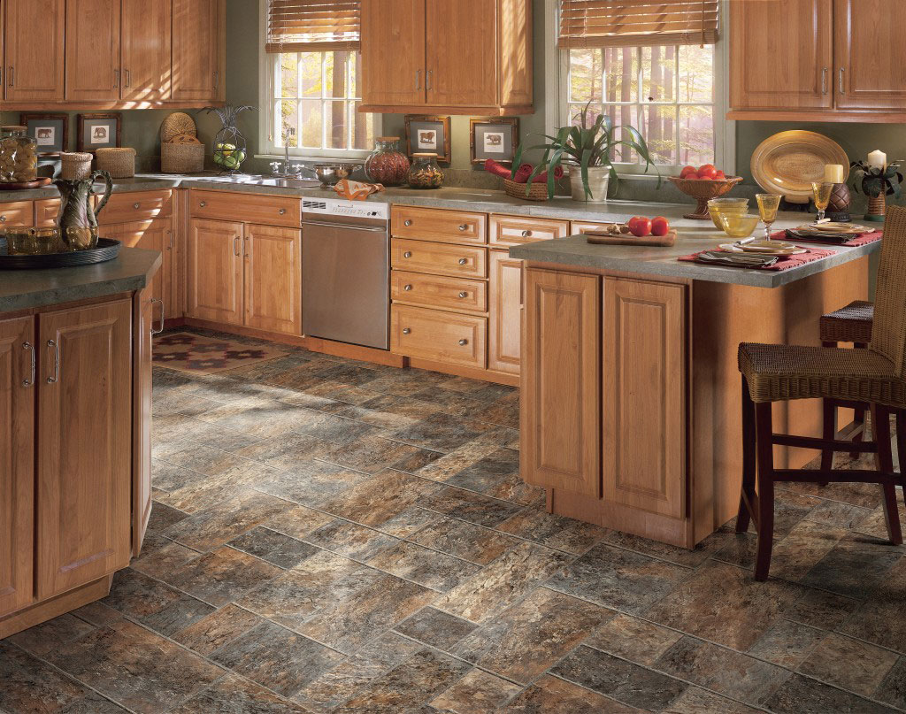 Best floors for a kitchen - Best Floors For Kitchens Ideas With Wooden Kitchen Cabinets Plus Kitchen Island With Wooden Rattan Chairs