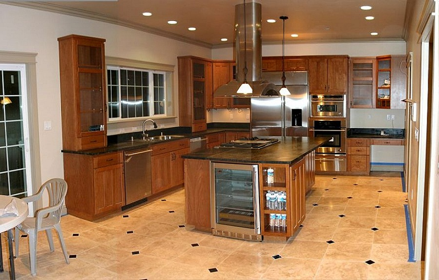 Best Floors For Kitchens With Tiles And Wooden Cabinets Sink Plus Hanging Pendan Lamps Plud