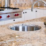 best kitchen sink material in round shape kitchen sink and classy countertop for modern and classic kitchen design
