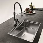 best kitchen sink material in steel and stylish faucet for modern kitchen ideas and dark countertops