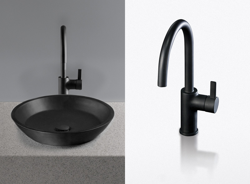 Black Stained Metal Sink And Faucet