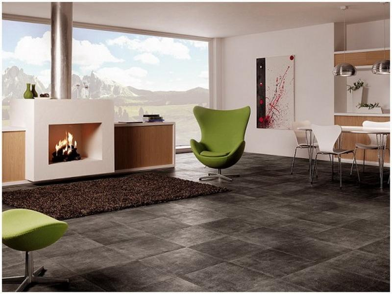 Black Washed Style Tiles Floor System For Contemporary Open Space With A  Pair Of Green Chairs