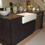 black wooden kitchen island with brown soaptone countertop with white sink and curve faucet with potted plants