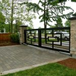 black wrought iron mobile gate in contemporary style