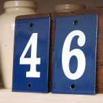 Blue And White Art Deco House Numbers With Metal Plat And Wooden For Number Of Address