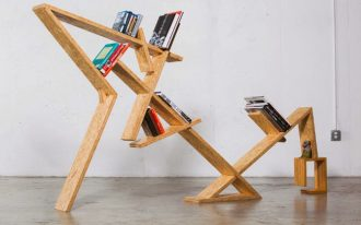 bookshelves made from solid wood in contemporary style
