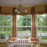 brown cream curtain design with balloon and bar glass window design in dining room with chandelier with white ceiling
