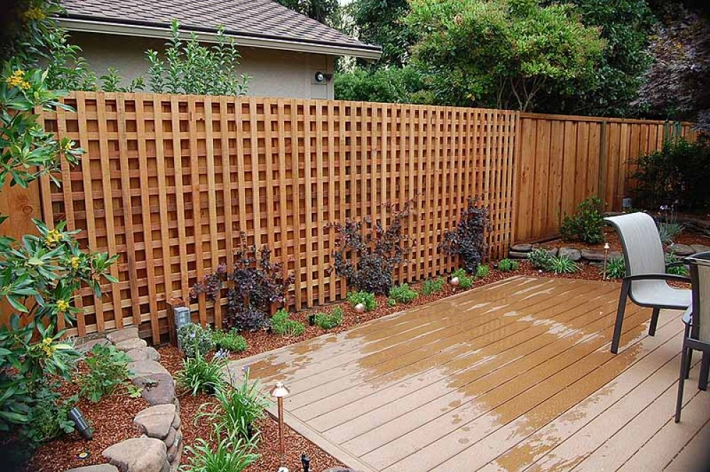 Good Brown Natural Wooden Lattice Fence Design With Tall Shape With Wooden Deck  Patio With Seating And
