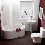 ceramic deep tubs for small bathrooms with brown floor plus shower and subway tile wall and sink plus wash basin plus window and toilet plus mirror