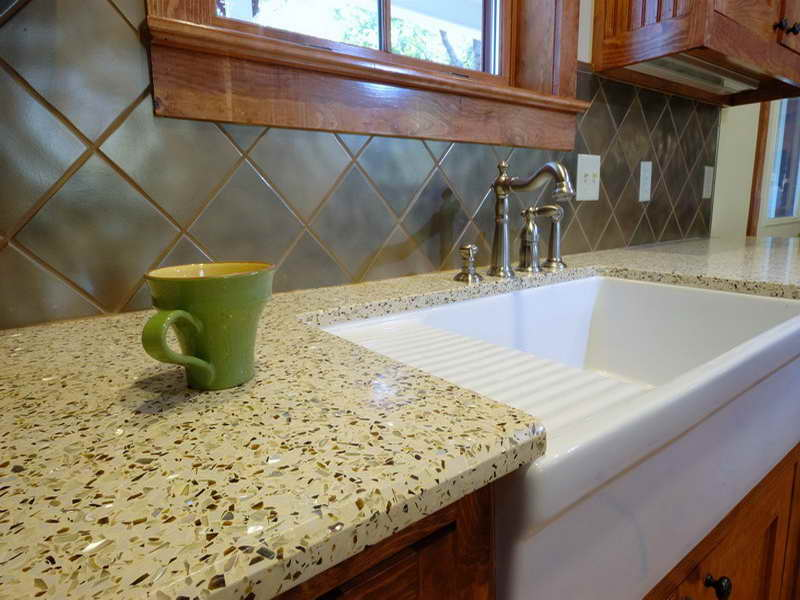Affordable Countertop Materials : Cheap Countertop Options With Recycled Glass Material And White Sink ...