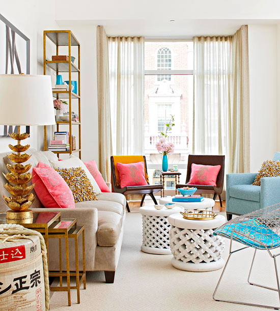 Chic And Fun Living Room Design By Better Homes And Gardens With Random  Tone Colors Furniture