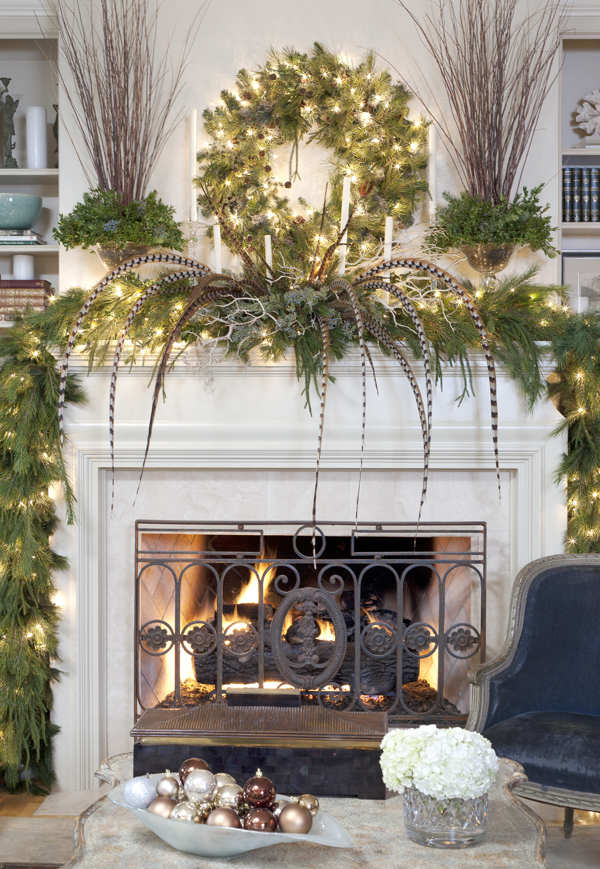 christmas decorations for mantels fireplace ideas with green garlands and romantic string light plus wreath and