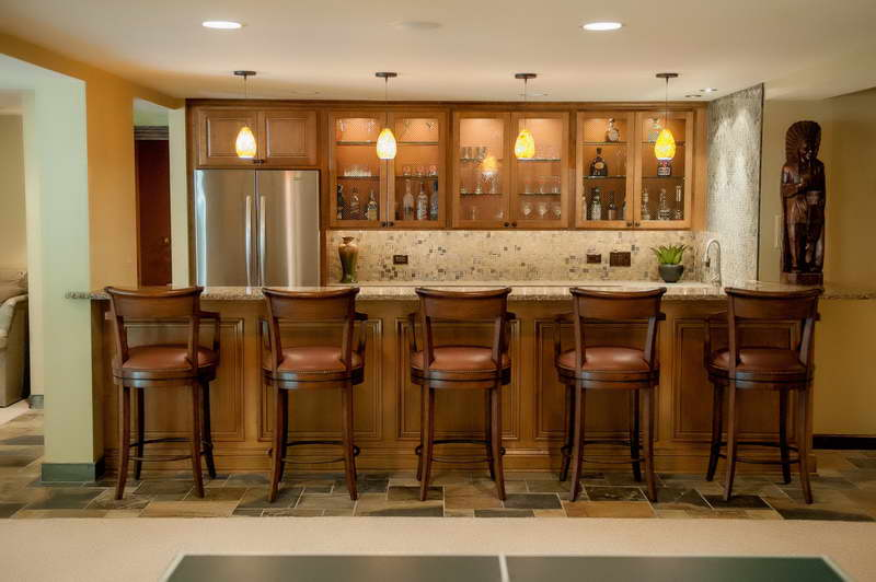 Classic Basement Bar Design With Natural Brown Barstools Marble Top Bar  Table A Countertop With Floating