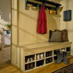 Classic Creative Practical Mudroom Design With Larger Concept Made Of Wood With A Shoes Case And Seat
