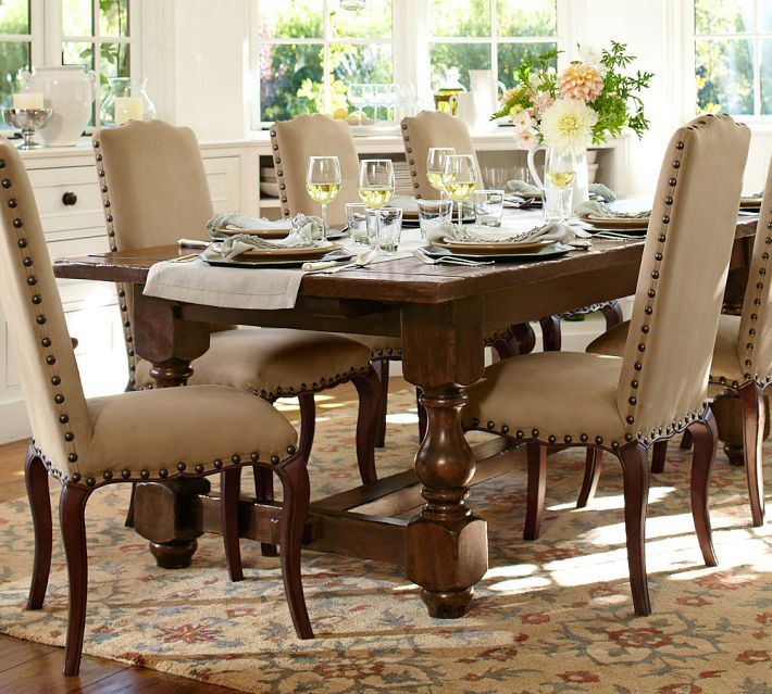 classic dining table design with furnished wooden table with carved