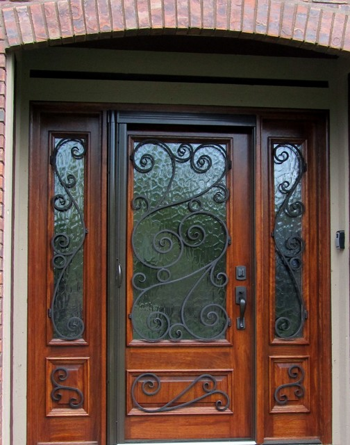 Classic Hinged Screen Door With Sidelights And Crafted Metal Decoration