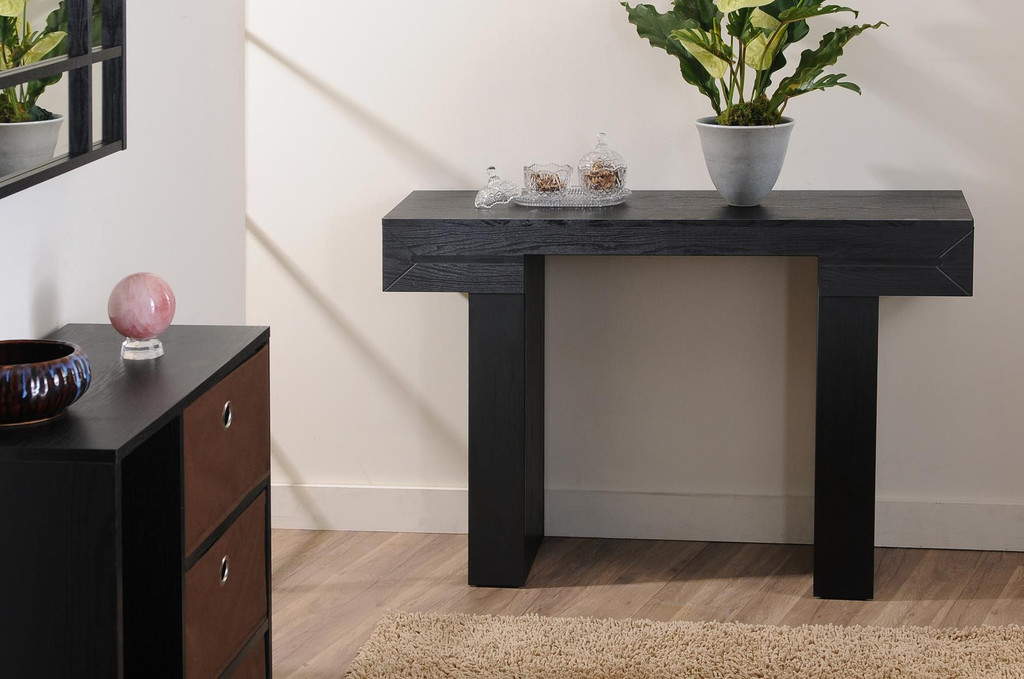 Merveilleux Classy Black Extra Long Console Design With Bols Legs With Greenery Aside  Storage Design In Brown