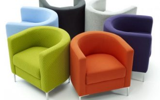 colorful modern bedroom chairs for comfortable seating in orange purple green blue black and white with curve backrest and unique seat