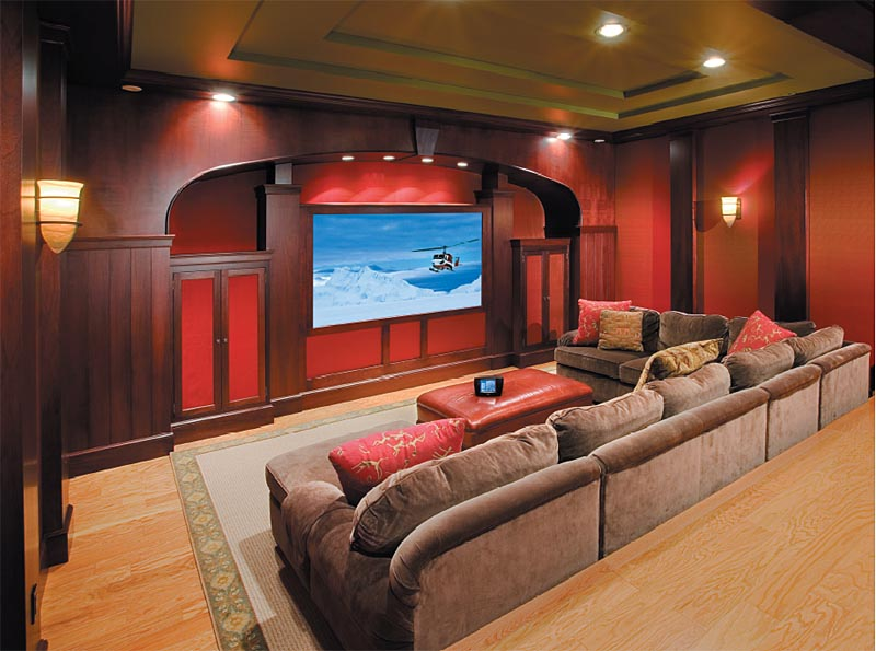 Comfortable And Stylish Private Home Theater Design With Brown Sectional  Velvet Sofas With Brown And Red