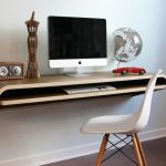 comfortable slim computer desk design with storage and gorgeous globe replica and ornament and white vintage chair