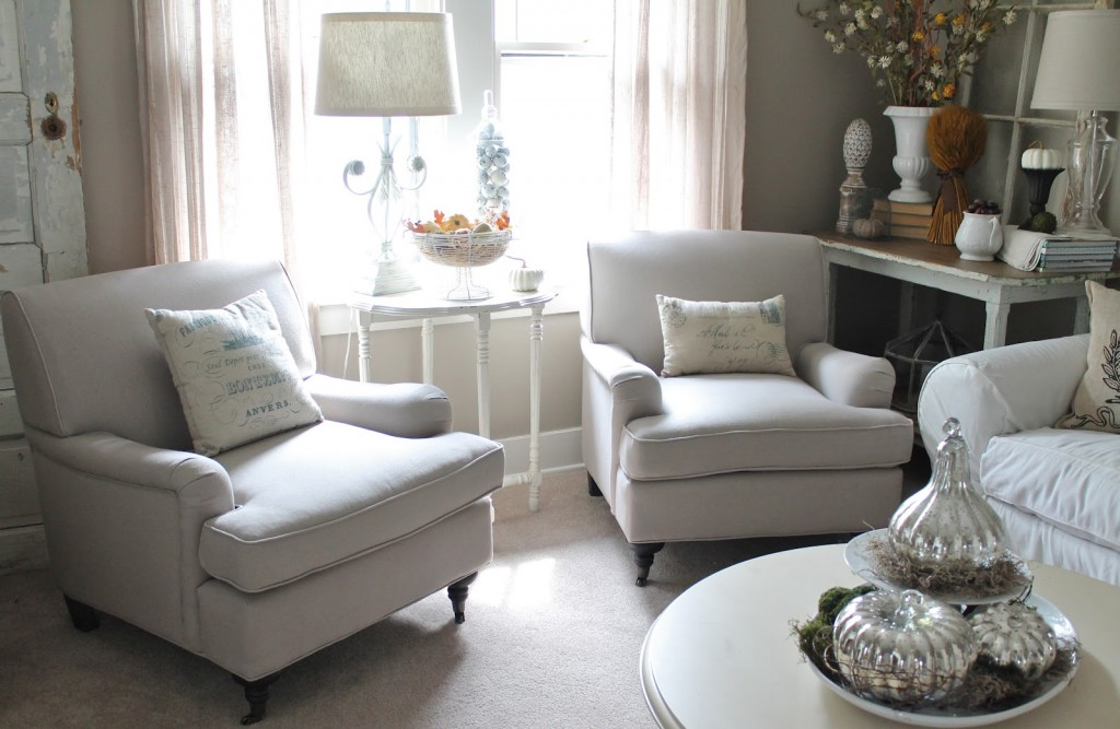 Comfy White Chairs For Small Spaces In Living Room With Wooden Coffee Table And End Table