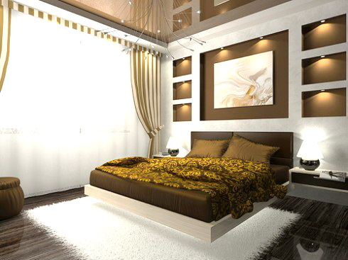 Contemporary Bedroom Style With King Bed Furniture With Black Headboard  Pure White Fury Carpet For Black