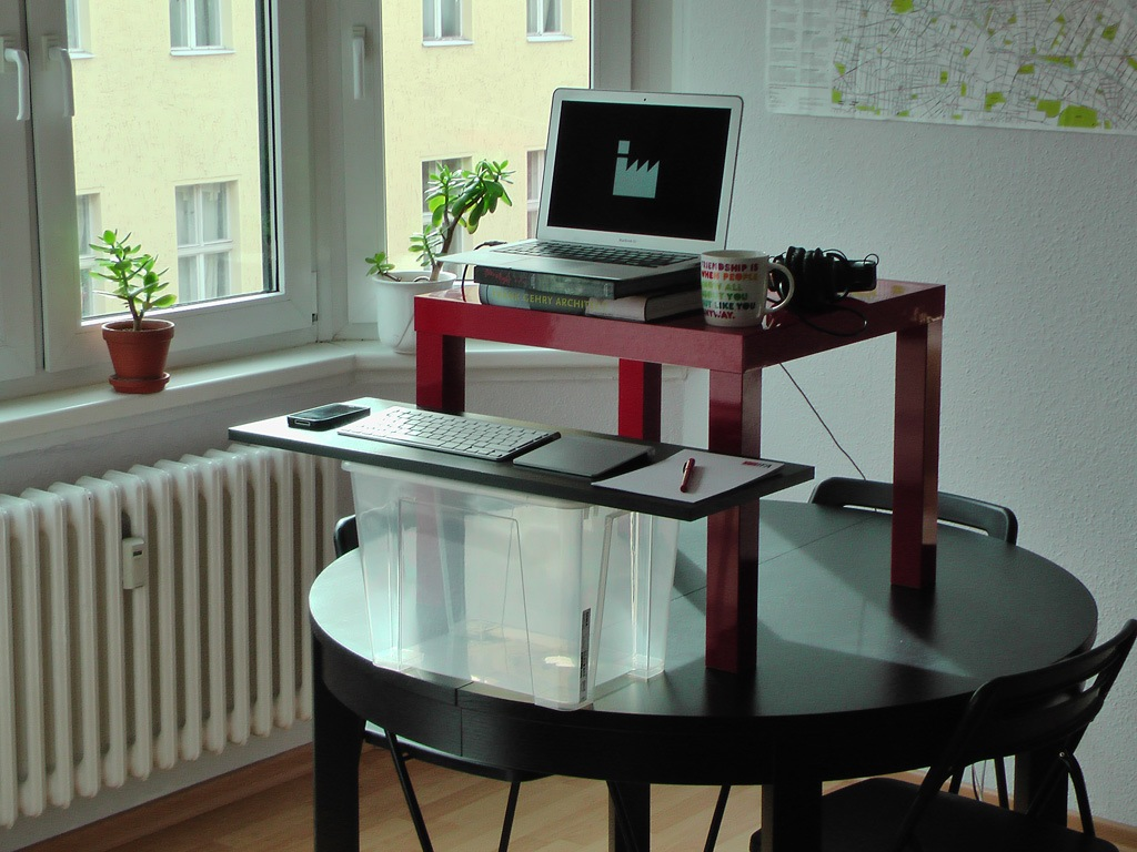 Cool Diy Build Your Own Stand Up Desk Mounted On Black Round Table Combined With Red