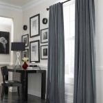 Cool Grey Window Treatments For Wide Windows Decorated For Home Office With Black Wooden Table And Black Seat Plus Modern Rug On Wooden Floor