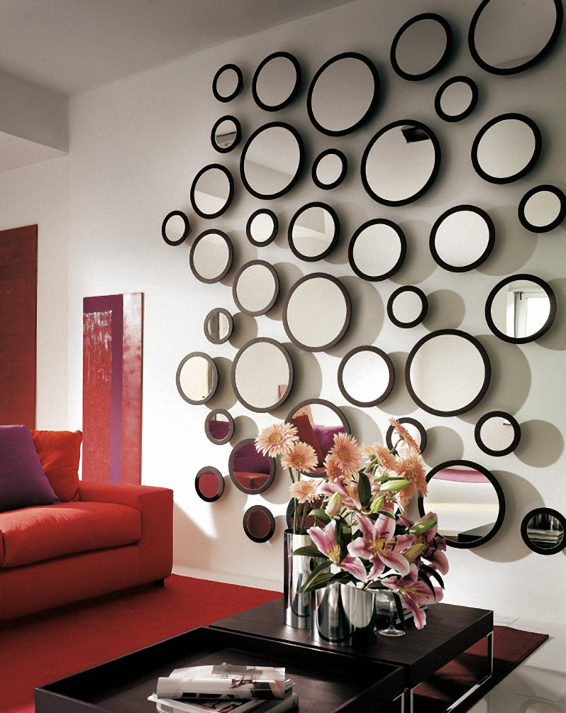 Cool Round Mirror Sheffield Home Mirrors In Living Room With Red Sofa Cushions And Rug
