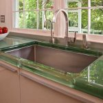 Creative Cool Nice Amazing Counter Top With Green Leave Concept With Large Sink Neat The Window For Large Kitchen Design
