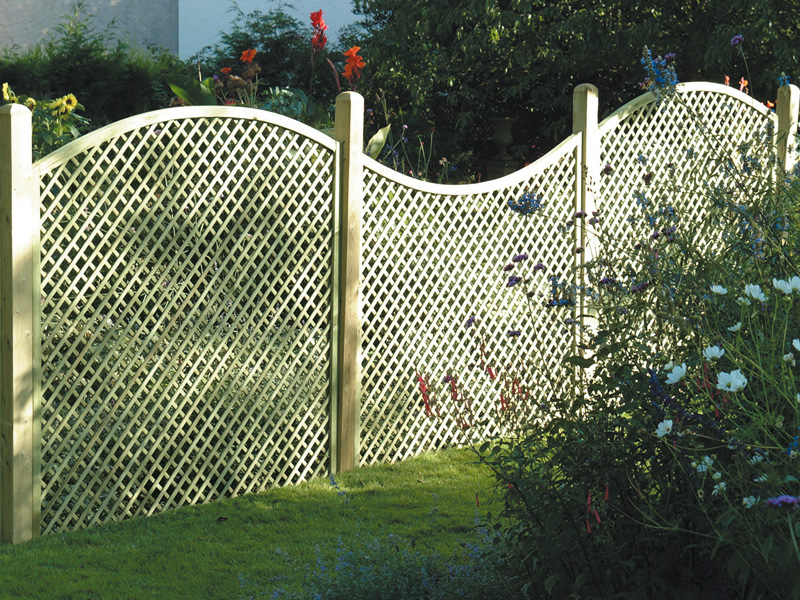 lattice fence design completes a perfect garden decoration