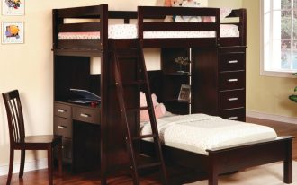 dark stained wood loft bed combo with stairs desk and cabinet system a dark stained wood chair pure white rug  shiny wood finishing