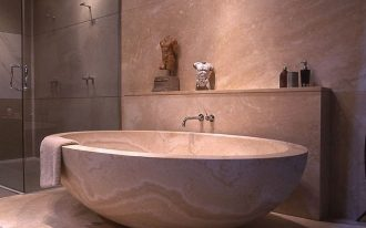 deep japanese soaking tubs for small bathrooms with walk in shower plus artistic display and cool wall and floor