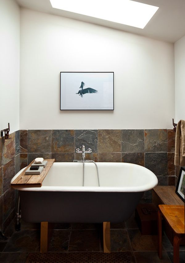Deep Tubs For Small Bathrooms With Natural Tile Floor And Wall Chair Plus Picture On