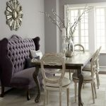 dining settee bench with purple tufted banquette sofa combined with classic wooden table and shabby chic chairs and silver vase plus candle holders and pretty mirror on wall