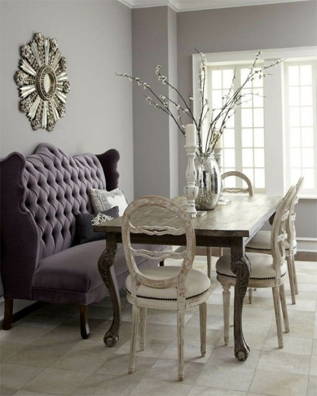 Dining Settee Bench With Purple Tufted Banquette Sofa Combined Classic Wooden Table And Shabby Chic