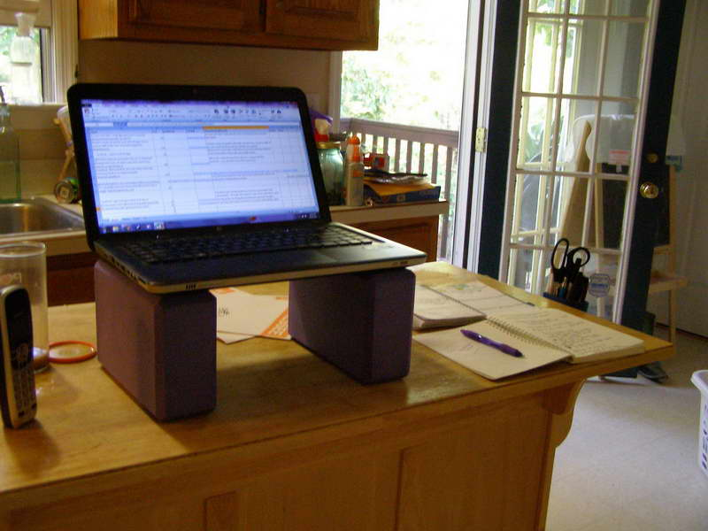 Diy Build Your Own Stand Up Desk With Solid Wooden Combined Red Beam Of Wood