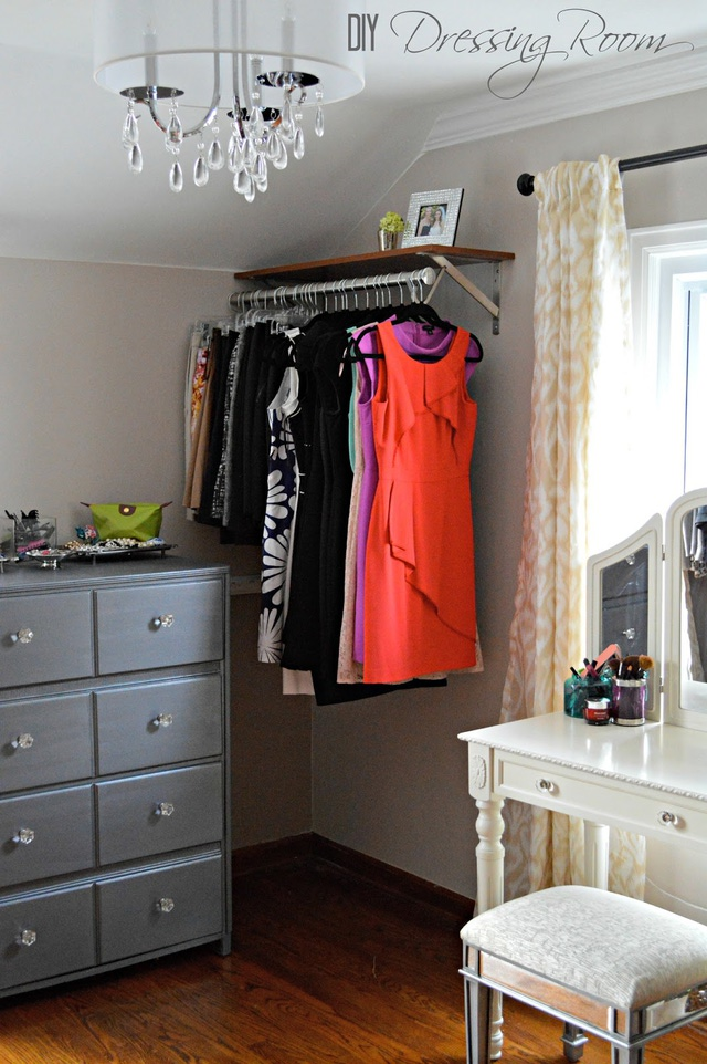 diy dressing room with shelf with hanging rod combinet with grey drawer  cabinets plus vintage make