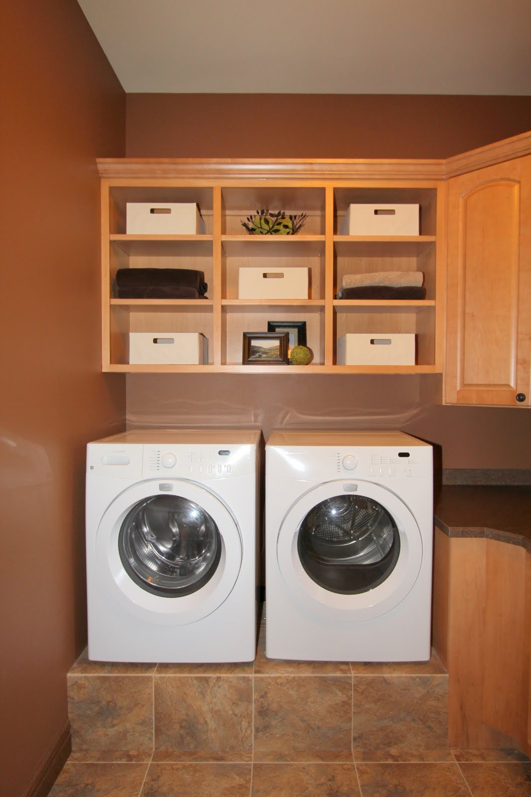 Double Machines Of Washer And Dryer Beneath Natural Wooden Cabinet In Cream Laundry  Room With Cream Part 46