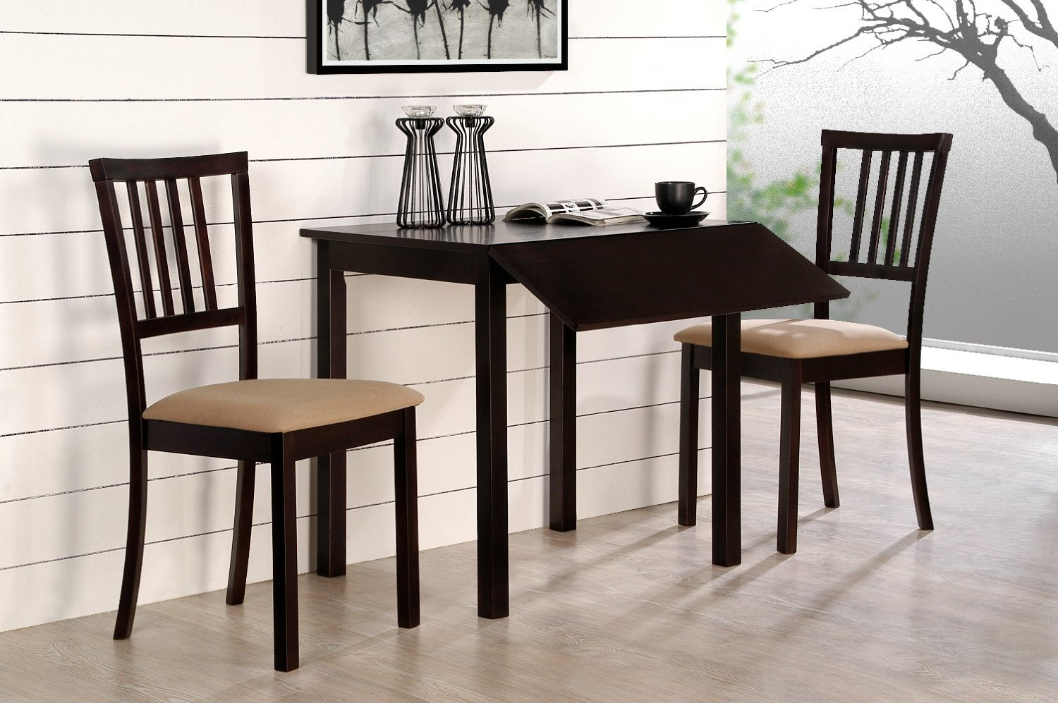 Compact dining space arrangement with drop leaf dining for Dining table space