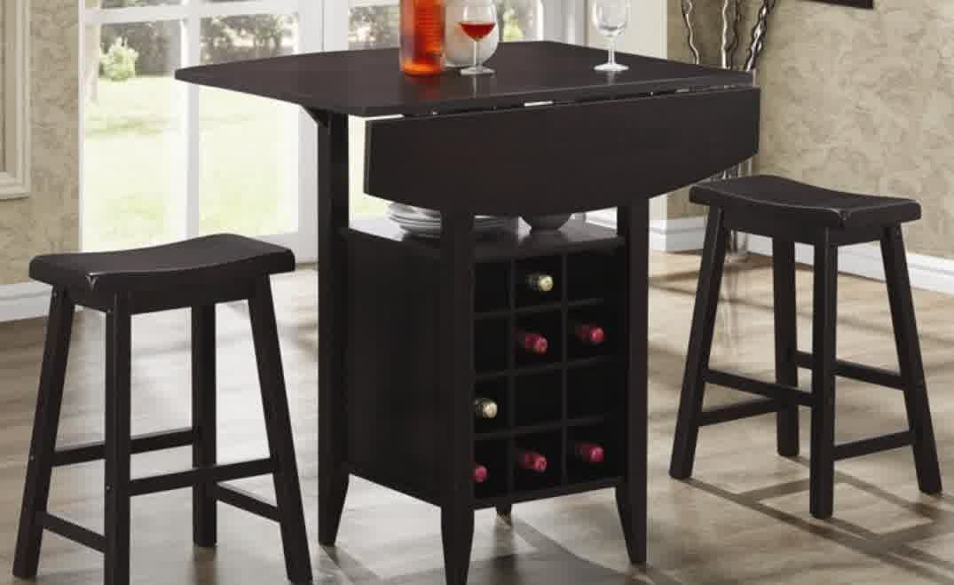 Compact dining space arrangement with drop leaf dining for Small dining table with storage