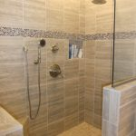 effortless walk in showers no doors with glass separator plus tile for wall and bathroom flooring