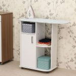 elegant minimalist ironing board storage cabinet design with slot and boxes beneath patterned wall design aside wooden storage