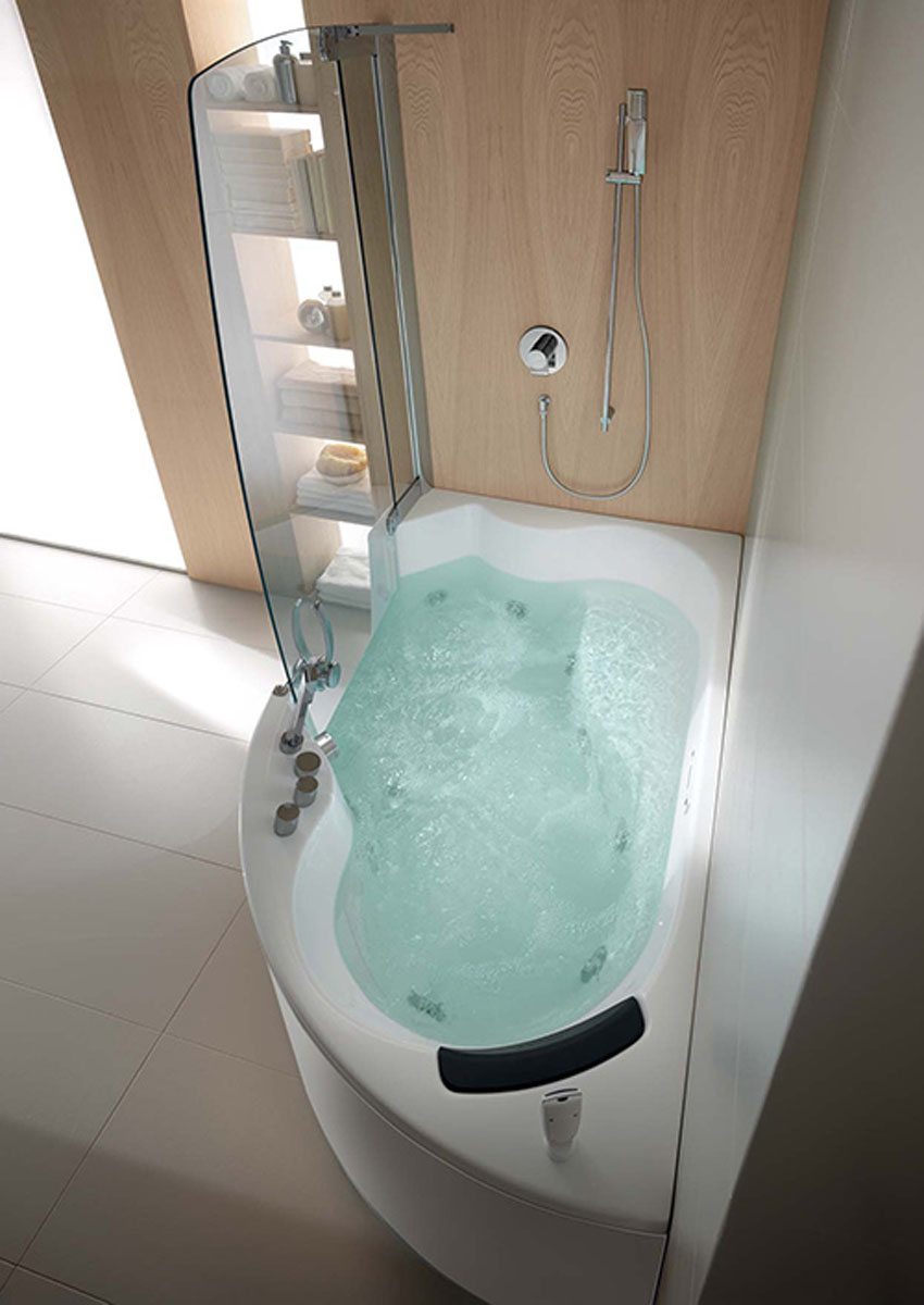 Elegant Narrow Bathtubs With Shower And Covered Glass Plus Storage Combined  With Tiled Floor For Small