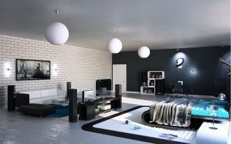 elegant spacious black bedroom design with turquoise bedding set with white area rug with white pendants with living space