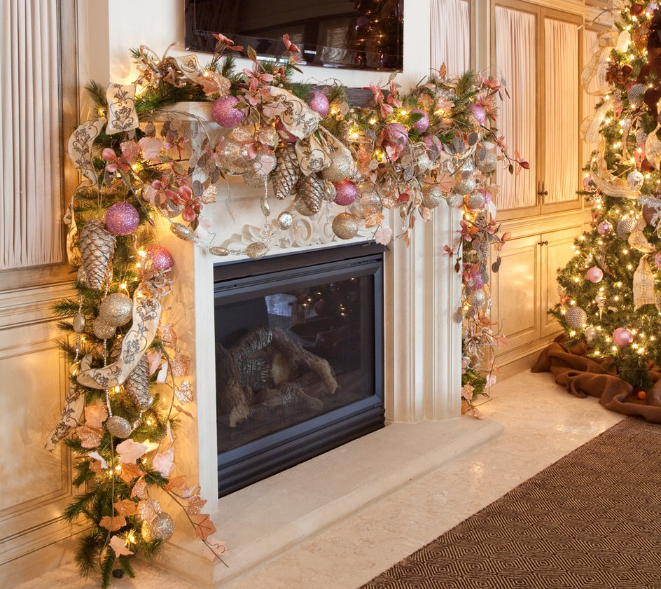 fancy christmas decorations for mantels with colourful christmas baubles and ribbon with green garland and string - Decorating Your Mantel For Christmas