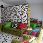 fancy room separators ikea with cute motif together with comfy green sofa with colorful cushions plus rug plus ceiling lamp and bedroom